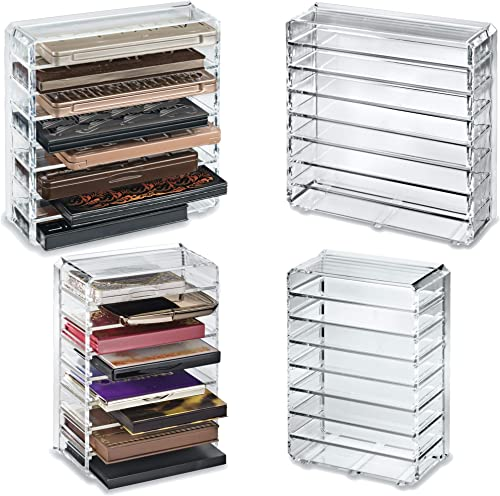 byAlegory Set Of (2) - (1 Small) & (1 Medium) Acrylic Palette Makeup Organizers w/Removable Dividers Designed To Stan...