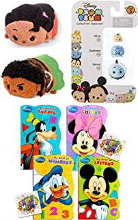 Tsum Tsum Stacker Figure Fun Mini Series 3 Pack Stackers Alice in Wonderland / Sadness / Genie from Aladdin Bundled with Plush Moana & Maui + Classic Shaped Book Pals 3 Items