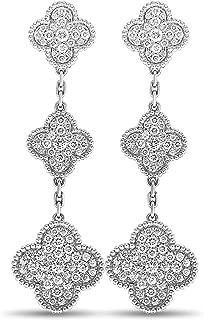 Magic Alhambra 18K White Gold Diamond Dangle Omega Back Earrings
