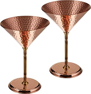 2 X CopperBull Gorgeous Hammered Copper Martini Goblets Glasses, 10 Ounces (Unlined Copper )