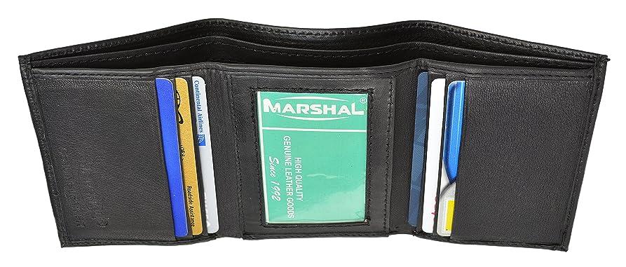 立方体ブリリアント口実Marshal ?本革メンズブラッククラシック三つ折りスリムクレジットカード財布オーガンザのギフトバッグ新しい