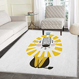 Lion Rugs for Bedroom Doodle Style Jungle Animal with Mane Glasses and Hat Funny Animal Cartoon Circle Rugs for Living Room 3'x5' Pale Blue Yellow Black
