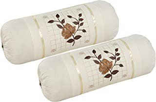 Rj Products™ Cotton Bolster Cover with Beautiful Rose Embroidery (Skin)