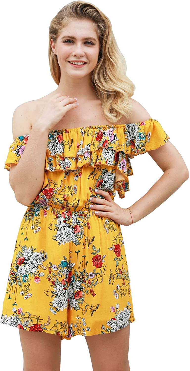MIOMI Womens V Neck Cut Out Floral Printed Spaghetti Strap Short Romper Jumpsuits with Ruffled Hem