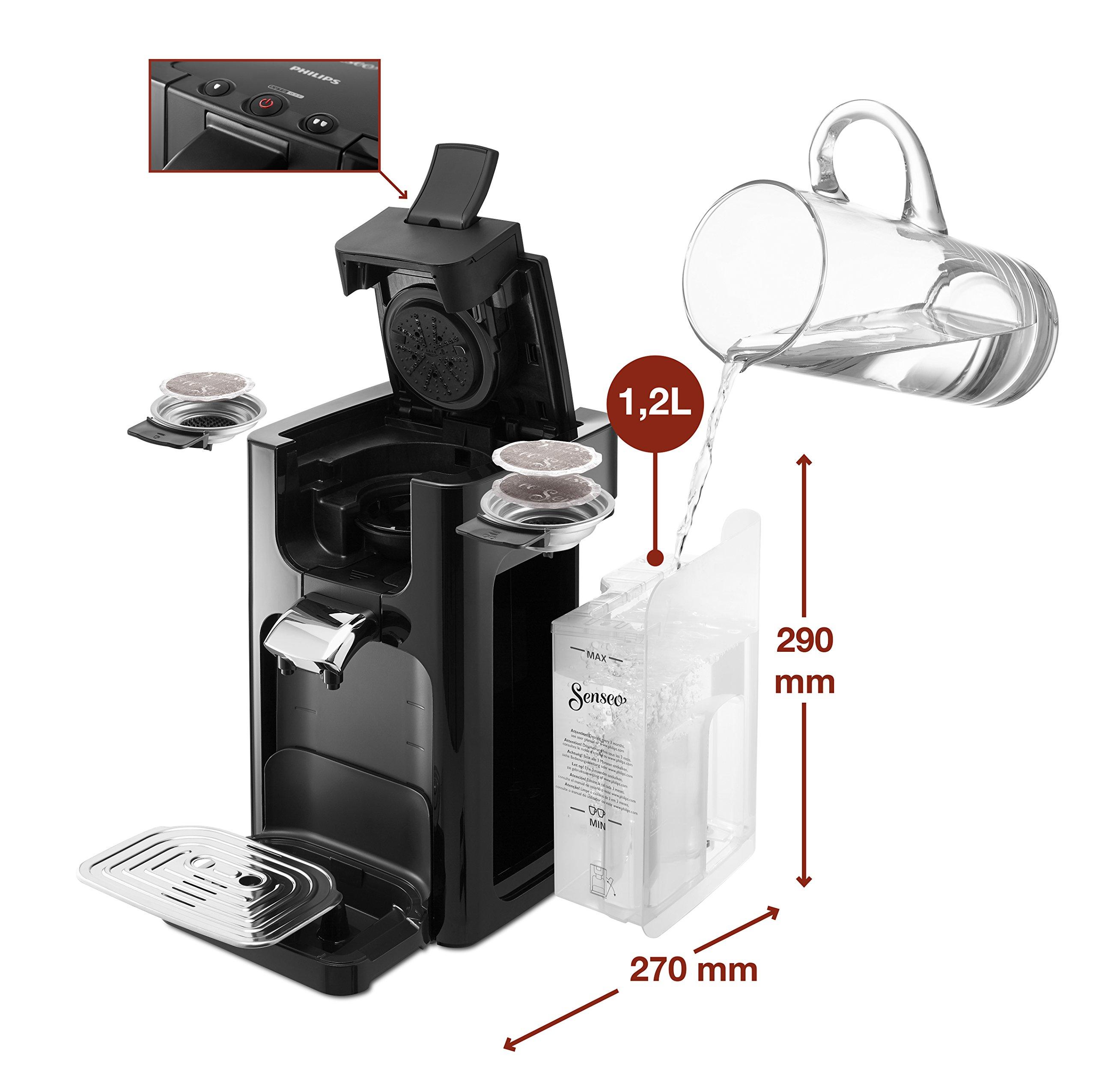 Senseo Quadrante HD7865/60 - Cafetera (Independiente, Máquina de café en cápsulas, 1,2 L, Dosis de café, Negro): Amazon.es: Hogar