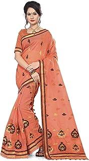 S Kiran's Women's Plain Weave Cotton Mekhela Chador Saree With Unstitched Blouse Piece
