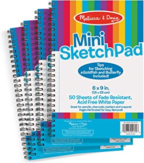 "Melissa & Doug Mini-Sketch Pads, 4-Pack (Arts & Crafts, Fade-Resistant, Acid-Free White Paper, 50 Pages, 9"" H x 6"" W x 0.25"" L)"