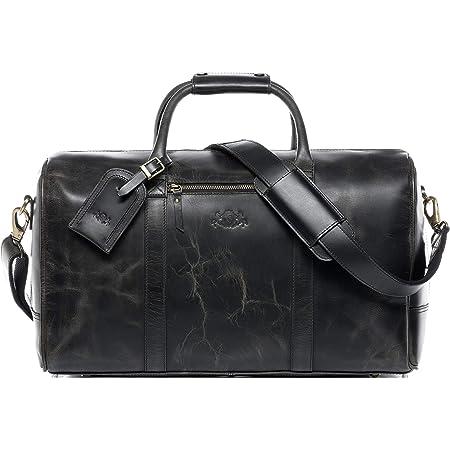 SID & VAIN Travel Bag Holdall Chad XL Duffel Bag Real Leather Weekender Duffle Leather Bag Women Men Black