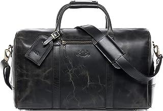 SID & VAIN Reisetasche echt Leder Chad | Vintage-Look | XL groß Sporttasche Weekender Ledertasche Herren schwarz