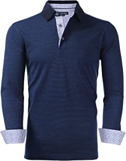 Maelreg Mens Performance Long Sleeve Dress Polo Shirt...