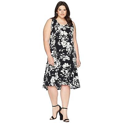 Karen Kane Plus Plus Size High-Low Hem Dress (Black/Off-White) Women