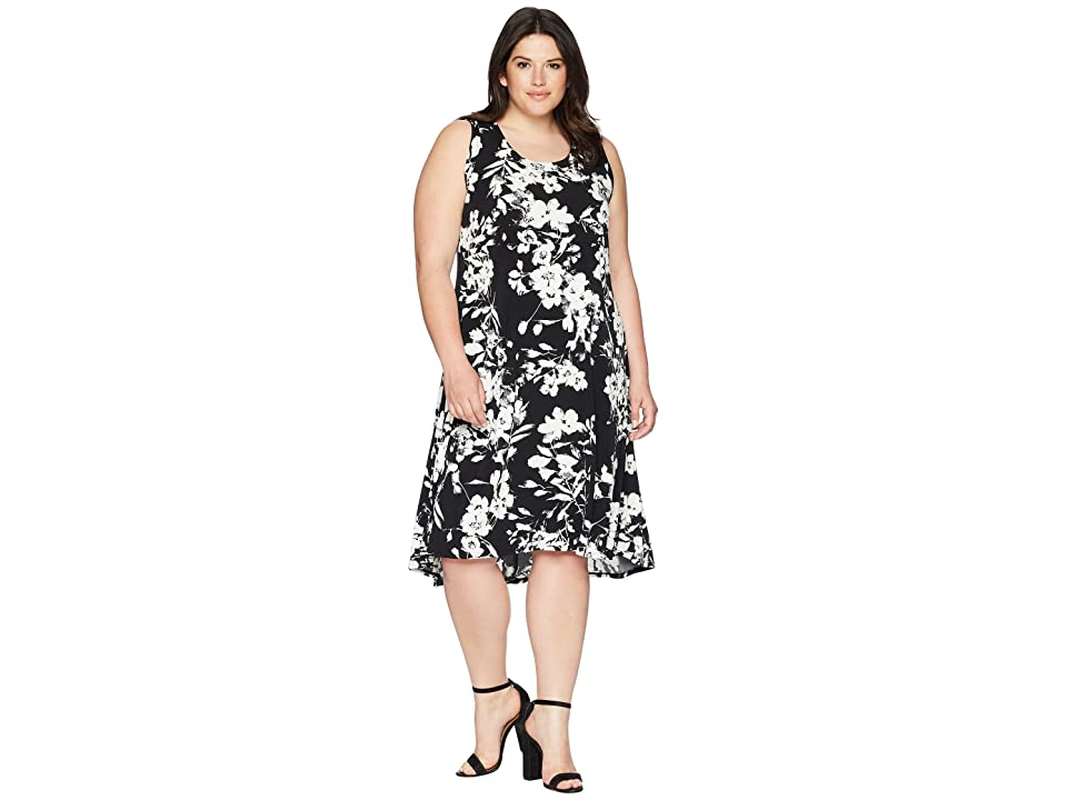 Karen Kane Plus Plus Size High-Low Hem Dress (Black/Off-White) Women