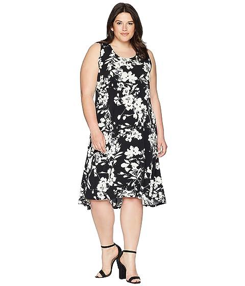 KAREN KANE PLUS Plus Size High-Low Hem Dress, Black/Off-White
