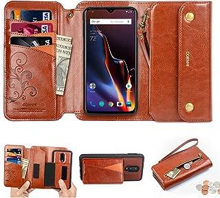 CORNMI Oneplus 6T Wallet Case, Zipper Pocket 8 Card Holders Wrist Strap Kickstand Detachable Purse Leather Folio Flip Protective Cover for Oneplus 6T Brown