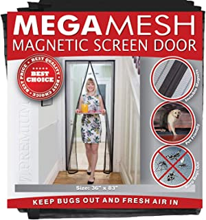 Magnetic Screen Door – Heavy Duty Reinforced Mesh & Full Frame Hook & Loop ACTUAL SCREEN SIZE 36