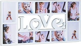 Relaxdays Marco de Fotos Múltiple Love para 10 Fotografías, Plástico, Blanco, 36.5x72x2 cm