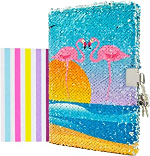 "VIPbuy Kid Girls' Flamingo Notebook Diary with Lock and Key Flip Sequin Journal w/ Photo Corner, 8.5"" x 5.5"", 156 Pages"