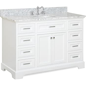 Aria 48-inch Bathroom Vanity (Carrara/White): Includes White Cabinet with Authentic Italian Carrara Marble Countertop and White Ceramic Sink
