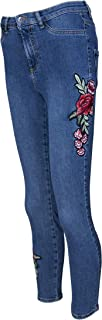 Rose Embroidered Floral Details Women Skinny Jeans