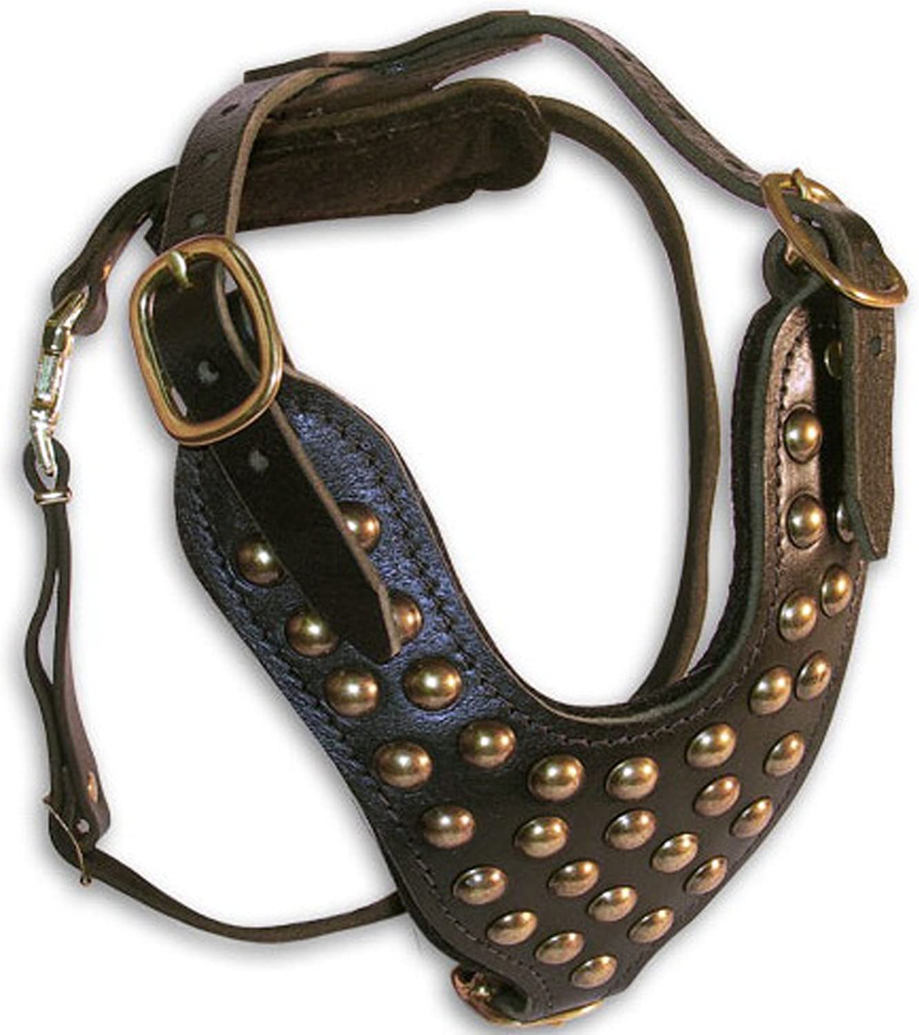 Dean and Tyler Stud Bredher Solid Brass Hardware Leather Dog Harness, Black, Medium  Fits Girth Size  20Inch to 32Inch