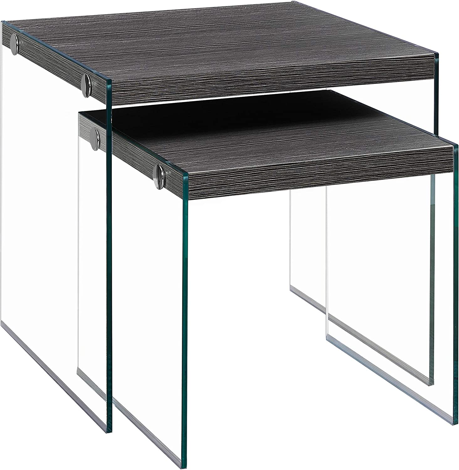 Monarch Specialties I 3221,Nesting Table, Tempered Glass, Grey
