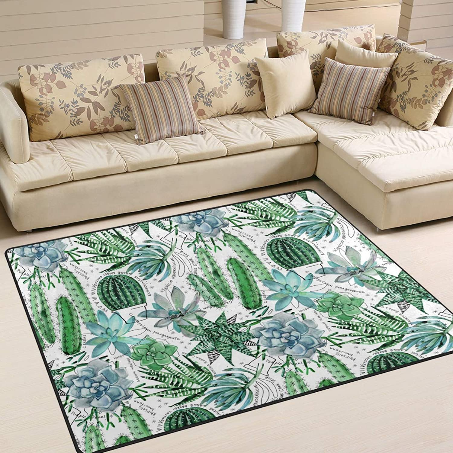Natural Plant Succulents Cactus Floor Mat Rug Indoor Front Door Kitchen and Living Room Bedroom Mats Rubber Non Slip