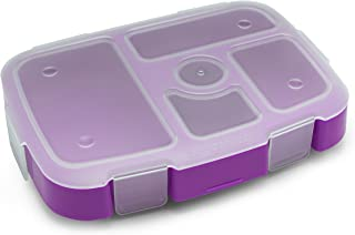 Bentgo Kids Tray (Purple) with Transparent Cover for At-Home Meals, Lunch Meal Prep, and More