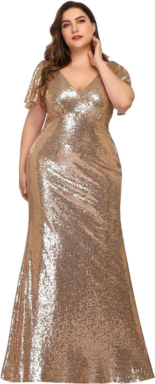 Plus Size Retro Dresses 50s, 60s ,70s, 80s, 90s Ever-Pretty Womens Elegant V-Neck Formal Evening Dresses for Women 7988  AT vintagedancer.com