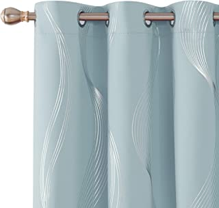Deconovo Blackout Curtains Room Darkening Thermal Insulated Drapes Foil Print Wave Patterns Grommet Top Curtains 2 Panels 42x72 Inch Sky Blue