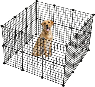 JYYG Small Pet Pen Bunny Cage Dogs Playpen Indoor Out Door Animal Fence Puppy Guinea Pigs, Dwarf Rabbits PET-F (24 Panels, Black)