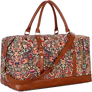 ArcEnCiel Weekend Travel Bag Ladies Women Duffle Tote Bags Canvas Overnight Pack D1016-18-01
