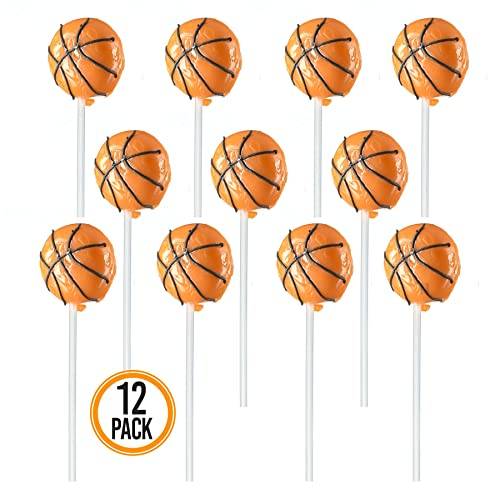 Prextex Basketball Lollipops - Kids Sports Ball Suckers for Birthday, Sports Event or Basketball Party Favor - Pack of 12 (1 Dozen)