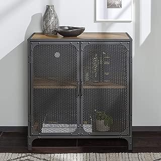 WE Furniture Industrial Metal Mesh Buffet Entryway Storage Cabinet Doors, 30 Inch, Brown Reclaimed Barnwood