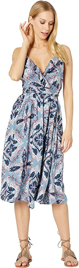 Rooftop Sunrise Printed Wrap Dress