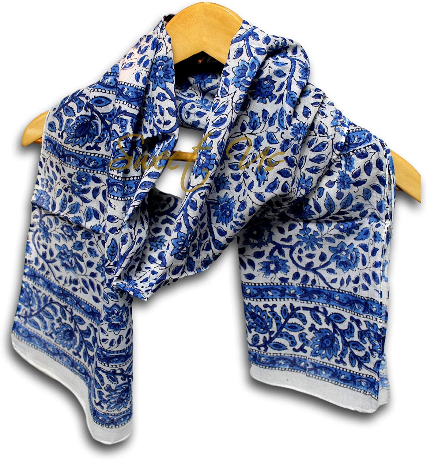 Large Cotton Scarfs for Women Lightweight Soft Sheer Neck Scarf, Head Scarf, Block Print Summer Floral Scarf, Bandanas for Women, Handmade Blue Fashion Scarf Shawl Stole Wraps 15x72 inches