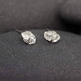 Herkimer Diamond Silver Wrapped Stud Earrings