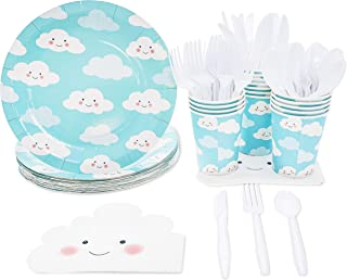 Disposable Dinnerware Set - Serves 24 - Cute Clouds Design, Kids Birthday, Gender Reveal Party Supplies, Includes Plastic Knives, Spoons, Forks, Paper Plates, Die-Cut Cloud Napkins, Cups, Sky Blue