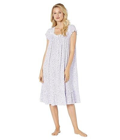 Eileen West Cotton Modal Jersey Cap Sleeve Waltz Nightgown (White Ground/Multi Floral) Women