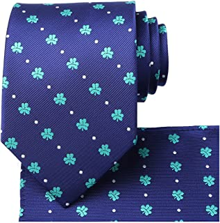 KissTies Mens Tie Set: Paisley Necktie + Pocket Square Hanky + Gift Box