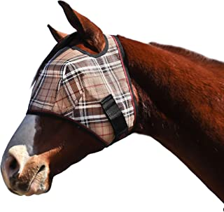 Kensington Fly Mask Web Trim — Protects Horses Face and Eyes From Biting Insects and UV Rays While Allowing Full Visibility — Ears and Forelock Able to Come Through the Mask (X-Large, Deluxe Black)
