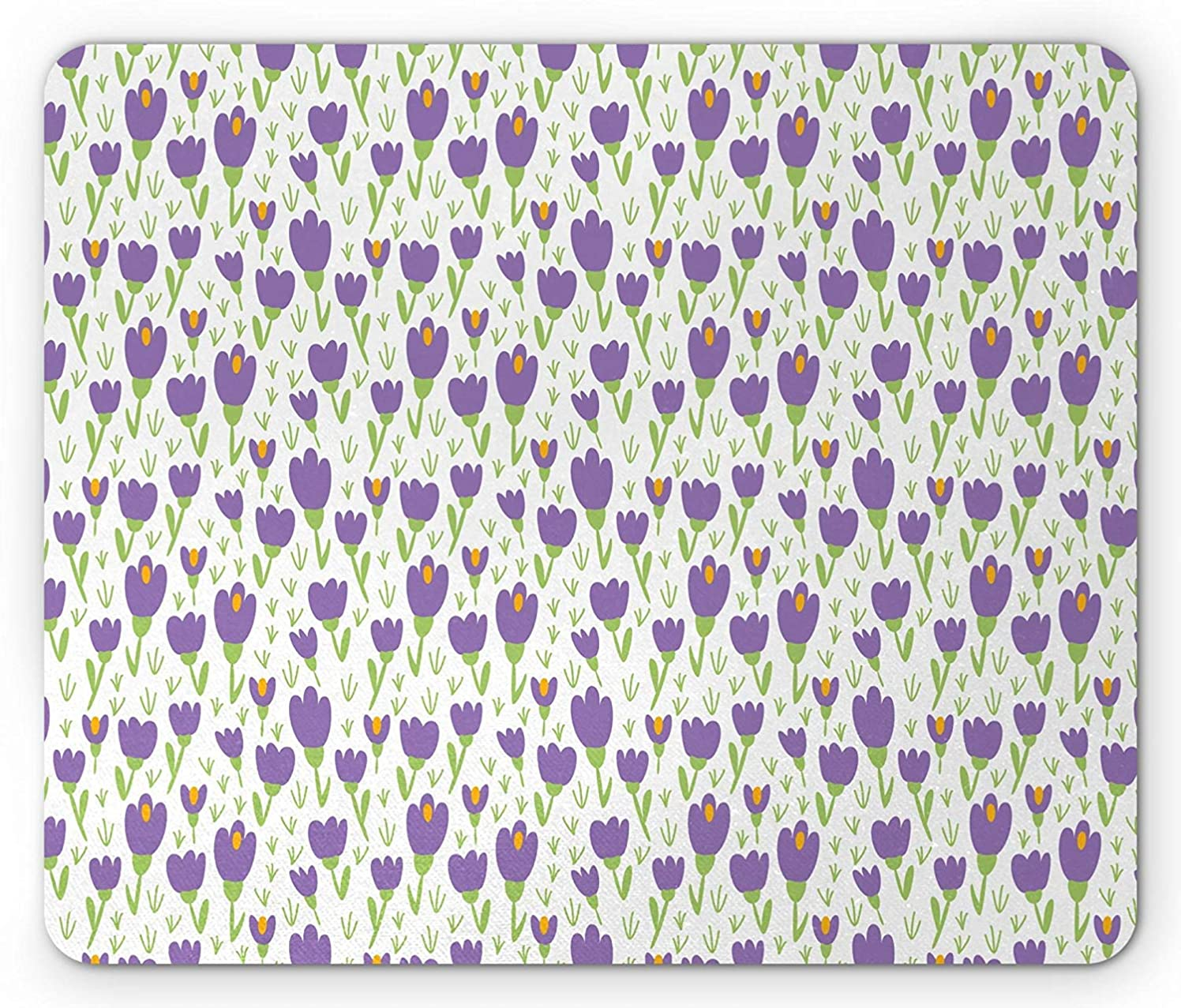 Tulip Mouse Pad, Flower Field Spring Grass Cottage Gardening Theme Yard Growth Mother Nature, Standard Size Rectangle Non-Slip Rubber Mousepad, Violet Lime Green