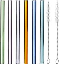 Relaxdays Glazen rietjes, 6 stuks, rechte, herbruikbare rietjes, 15 cm, met borstel, duurzaam, Ø 10 mm, kleurrijk