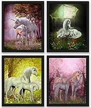 Unicorn Room Decor Art Prints 4 Pack | Set of Four Photos 8x10 Unframed | Great Unicorn Party Supplies or Unicorn Girls Bi...