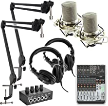 Professional Podcast Studio 2 person Dual Microphone Mic Broadcast System KIT w/ 2 MXL-990 Condenser Microphones.