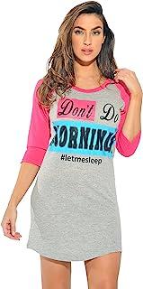 Just Love 100% قطن فستان نوم للنساء قميص نوم بأكمام بيسبول