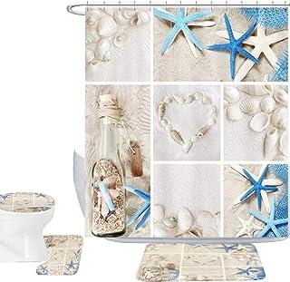 Amagical Blue Starfish Seashell Conch 16 Piece Shower Curtain Bathroom Mat Set Wishing Bottle Love Stone Design Bath Mat + Contour Mat + Toilet Cover + 12 Hooks + Shower Curtain (Blue Starfish)