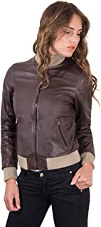 D'Arienzo Bomber in Pelle Nera Donna Giacca Vintage Giubbotto Moto Vera Pelle Made in Italy G155