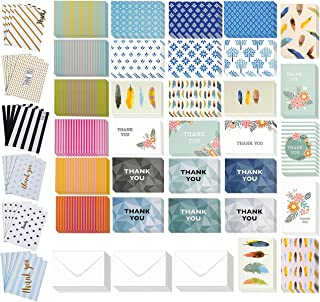 144 Pack Thank You Cards - Thank You Greeting Cards Bulk Box Set - Thank You Note Cards All-Occasion Thank You Notecard Set - Includes 36 Assorted Design Note Cards and White Envelopes, 4 x 6 Inches