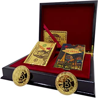 Big Texas Mall 24k Gold Las Vegas & Ben Franklin $100 Bill Poker Playing Cards w/2 Gold Plated Collectible Bitcoin Coins Real Gold Standard Professional Quality Gold Foil Plated Prestige Set