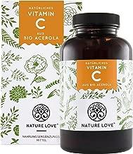 Natürliches Vitamin C in Bio Qualität - Vergleichssieger 2019* - 180 Kapseln im 3 Monatsvorrat - Aus Bio Acerola Extrakt - Hoch bioverfügbar, laborgeprüft, vegan und hergestellt in Deutschland
